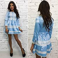 Стильное нежно-голубое платье с кружевом . Арт-9702/11