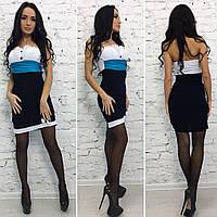 Женское короткое черно-белое платье с голубой вставкой . Арт-9703/11