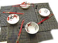 "Набор для суши ""Белый с цветами сакуры"" (4 персоны)(34,5х34,5х7см)"