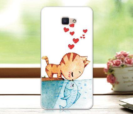 Бампер силіконовий чохол для Samsung Galaxy J7 Prime G610 з картинкою Поцілунок кота