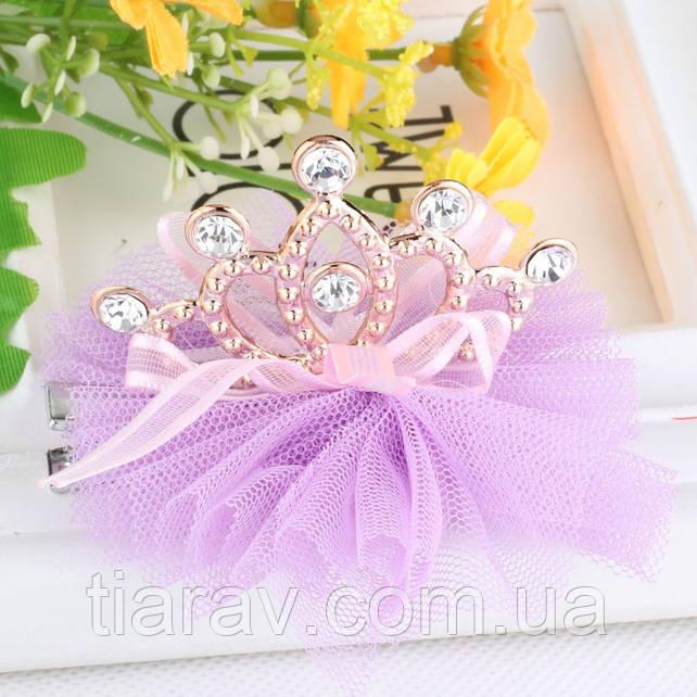 Корона заколка детская Фатин фиолетовая Тиара Виктория для волос диадема детские украшения