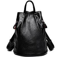 Рюкзак женский кожаный с 2 карманами (черный), фото 1