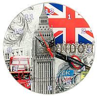 """Часы настенные """"Лондон"""" стекло (d-20 см)(тихий ход)."""