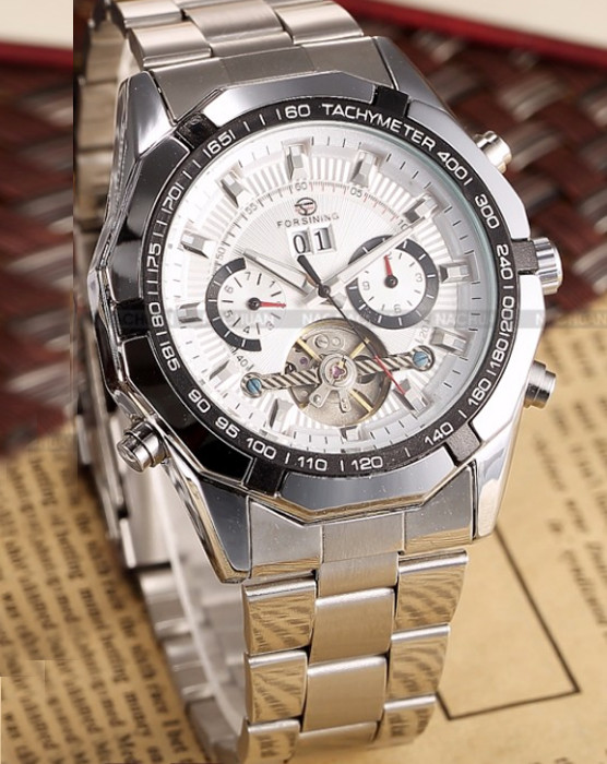 fd5c40e08c9e Механические мужские наручные часы с автоподзаводом Forsining, белый  циферблат - Планета здоровья интернет-магазин