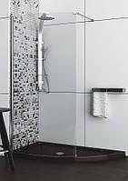 Асимметричная душевая кабина Aquaform SOLITARE с коричневым поддоном 1520x800x2070