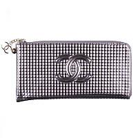 Женское портмоне на молнии Chanel серое