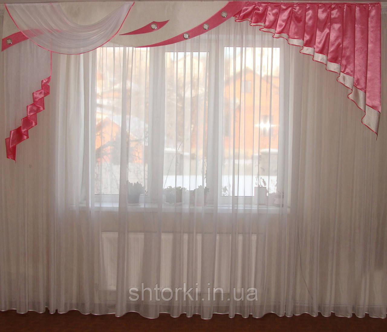 Жесткий ламбрекен Люкс розовый 3м