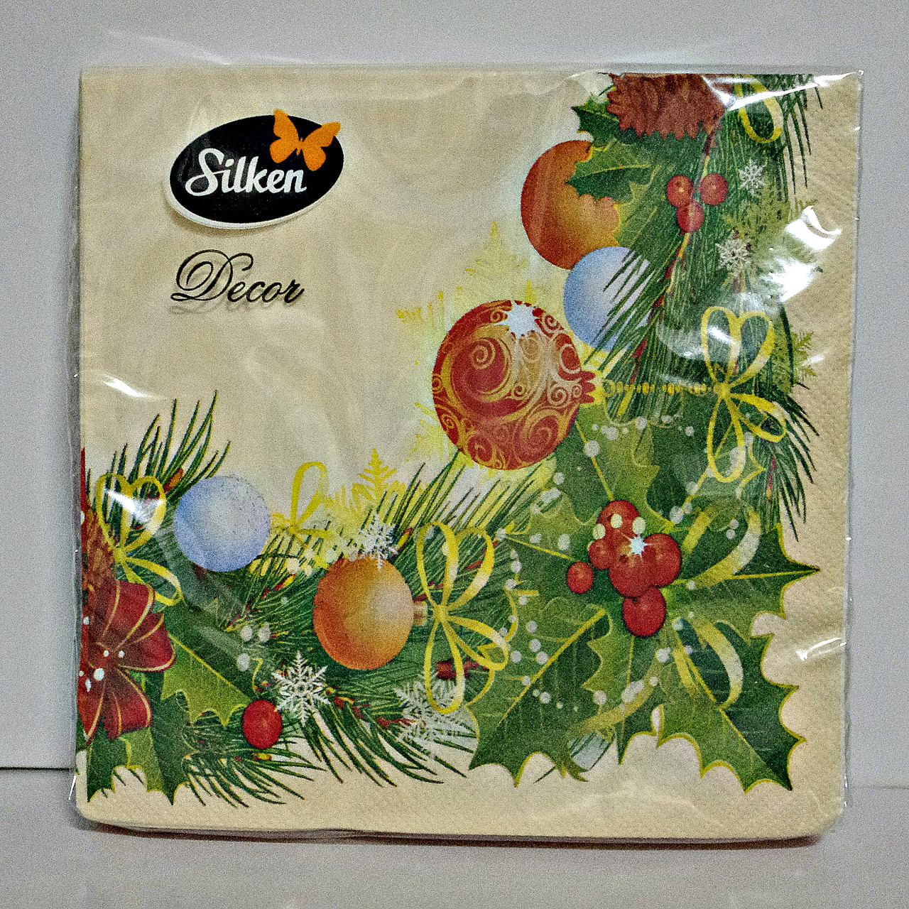 """Салфетка новогодняя Silken 2-сл. """"Різдвяна Рамка"""" 18шт 33*33см"""