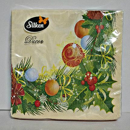 """Салфетка новогодняя Silken 2-сл. """"Різдвяна Рамка"""" 18шт 33*33см , фото 2"""