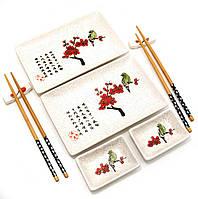 "Сервиз для суши ""Птица на ветке сакуры"" (2 персоны)(28х28,3х3,5,см)"