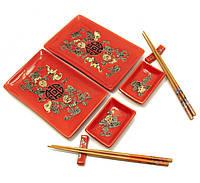 """Сервиз для суши красный """"Цветы"""" (2 персоны)(28х28,3х3,5,см)"""