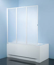 Шторка для ванн Aquaform STANDARD-3 трёх элементная 121х140 профиль белый 170-04010, фото 3