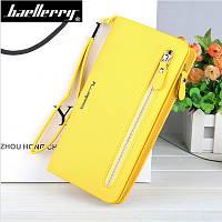 Женский клатч кошелек желтый Baellerry Italia Classic (портмоне Баелери) и сережки в подарок