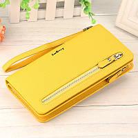 Желтый кошелек клатч для женщин Baellerry Italia Classic и серьги-шарики в подарок