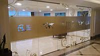 Декорирование витрины магазина аппликацией