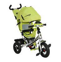 Велосипед детский трехколесный Azimut Trike Crosser One T1 ФАРА (надувные колёса) салатовый