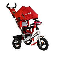 Детский трехколесный велосипед Azimut Trike Crosser One T1 ФАРА (надувные колёса) красный