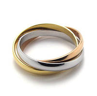 """Тройное женское кольцо """"Элегансе"""" позолота ювелирная бижутерия"""