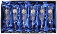 Набор хрустальных бокалов для шампанского c гербом Украины Suggest  арт. PB41567
