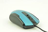 Мышка компьютерная проводная ZW116 цветок голубая