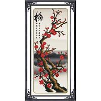 Ветка сакуры. Набор для вышивания нитками на канве с нанесенным фоновым рисунком