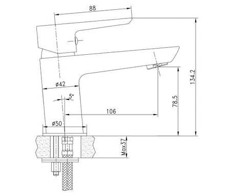 BRECLAV cмеситель для раковины с донным клапаном, хром, 35 мм, фото 2