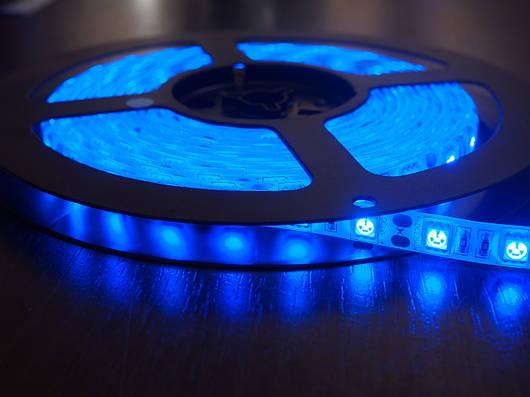 Светодиодная лента SMD 5050, 60 диодов/метр, 12V, 14.4W/m, 18lm, IP20, негерметичная, 5 метров, синяя