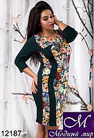Стильное женское платье в цветочный принт батал (50, 52, 54, 56) арт. 12187
