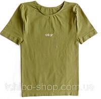 Стильная красивая футболка c надписью из страз Glizy цвет хаки