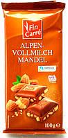 Шоколад молочный с миндальным орехом Fin Carre Alpen-Vollmilch  Mandel 100g