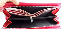 Стильный розовый кошелек Baellerry Italia Classic (Баелери Италия Класик) портмоне, клатч, малиновый + сережки