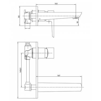 BRECLAV cмеситель для раковины (настенный), хром, 35 мм, фото 2