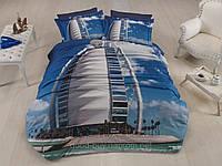Комплект постельного белья First choice  3D сатин DUBAI Двуспальный Евро Архитектурные сооружения