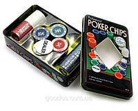 Покерные фишки в металлической коробке