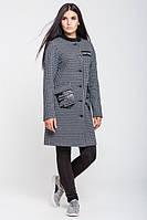 Женское пальто осень-весна Нью-Йорк, серо-синий меланж, 4 размера