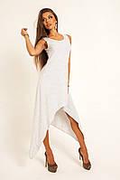 Легкое белое длинное  платье с ассиметричным низом. Арт-9720/11
