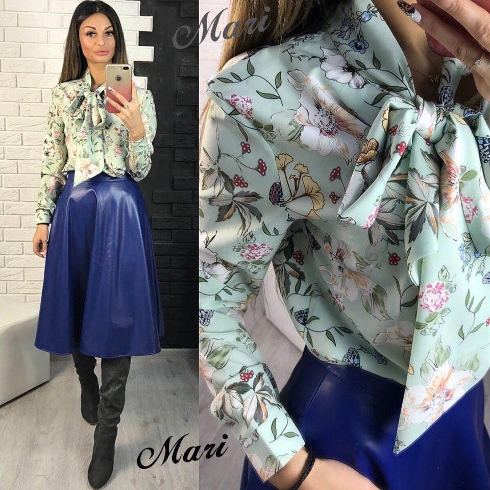 834f4413332 Блузка с воротником бант в цветочный принт разные расцветки 2Rmil35 -  Shoppingood в Харькове