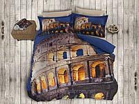 Комплект постельного белья First choice  3D сатин ROMA Двуспальный Евро Архитектурные сооружения