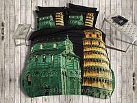 Комплект постельного белья First choice  3D сатин PISA Двуспальный Евро Архитектурные сооружения