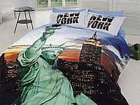 Комплект постельного белья First choice  3D сатин NEW YORK Двуспальный Евро Архитектурные сооружения