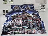 Комплект постельного белья First choice  3D сатин MOSCOW Двуспальный Евро Архитектурные сооружения
