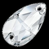 Капли пришивные хрустальные Preciosa (Чехия) 12х7 мм Crystal 2-й сорт