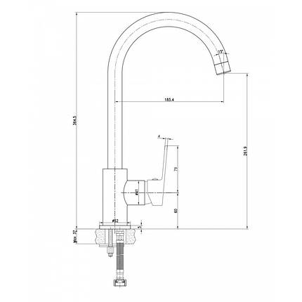 LASKA смеситель для кухни, сатин, 35мм, фото 2