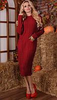 Вязаное платье ВИКИ Карманы 42-48р красный