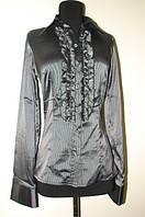 Блузка черная в серую полоску Р60