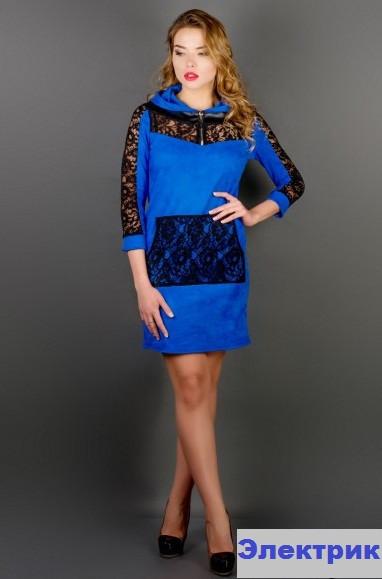 Платье молодёжное с гипюром-электрик