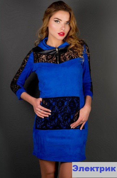Купить Платье молодёжное с гипюром-электрик недорого
