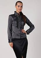Блузка черная в серую полоску Р76
