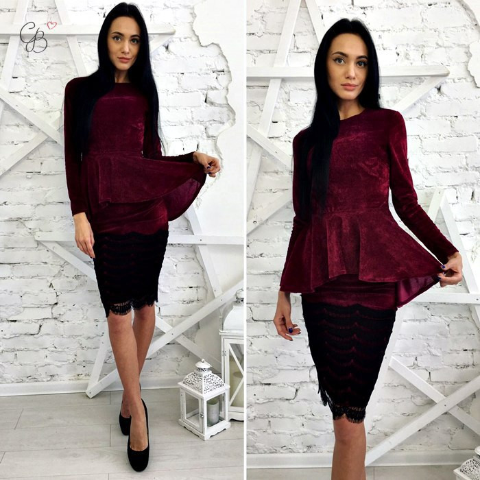 Костюм бархатный блуза с баской юбка карандаш