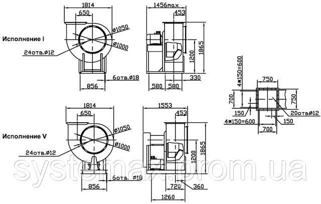 Габаритные и присоединительные размеры центробежного вентилятора ВЦ 4-75 №10